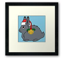 Gray Arctic Hare with Red Santa Hat, Holly & Gold Bell Framed Print