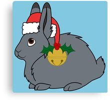 Gray Arctic Hare with Red Santa Hat, Holly & Gold Bell Canvas Print