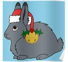 Gray Arctic Hare with Red Santa Hat, Holly & Gold Bell Poster