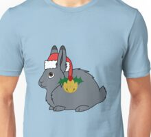 Gray Arctic Hare with Red Santa Hat, Holly & Gold Bell Unisex T-Shirt