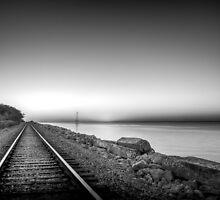 Dawn, cool, train coming down the tracks by matt1960