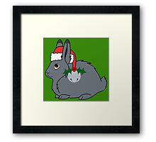 Gray Arctic Hare with Santa Hat, Holly & Silver Bell Framed Print