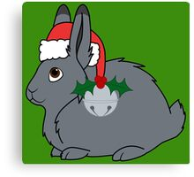 Gray Arctic Hare with Santa Hat, Holly & Silver Bell Canvas Print