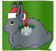Gray Arctic Hare with Santa Hat, Holly & Silver Bell Poster