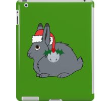 Gray Arctic Hare with Santa Hat, Holly & Silver Bell iPad Case/Skin
