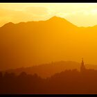 Sunset over Ljubljana by jonshock