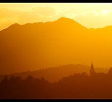 Sunset over Ljubljana by jonshock