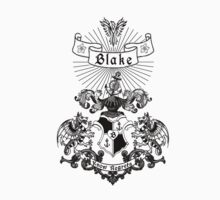 BLAKE Family Crest, Original Design - black ink by TayDayArt