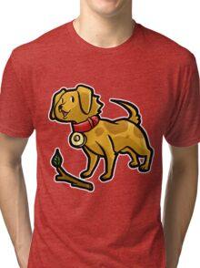 Dog Playing Fetch Tri-blend T-Shirt