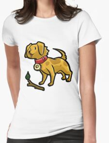 Dog Playing Fetch Womens Fitted T-Shirt