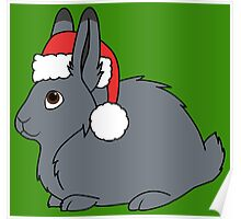 Gray Arctic Hare with Christmas Red Santa Hat Poster