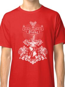 BLAKE family crest, original design - white ink Classic T-Shirt