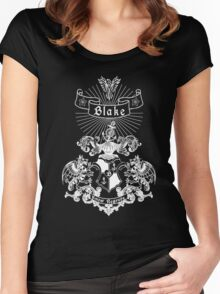 BLAKE family crest, original design - white ink Women's Fitted Scoop T-Shirt