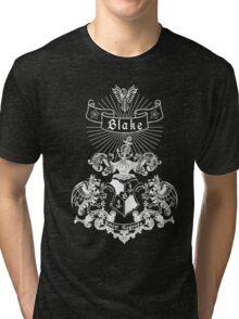 BLAKE family crest, original design - white ink Tri-blend T-Shirt