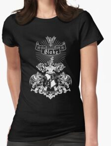 BLAKE family crest, original design - white ink Womens Fitted T-Shirt