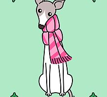 Christmas Greyhound - Gray and White by Zoe Lathey