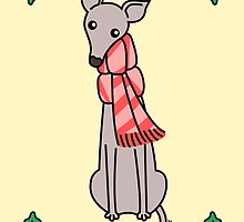 Christmas Greyhound - Gray by zoel
