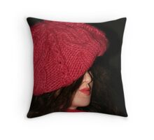 Girl in Red card Throw Pillow
