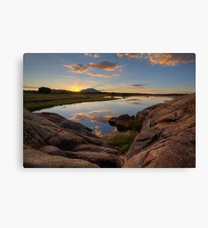 Sunset On The Rocks Canvas Print