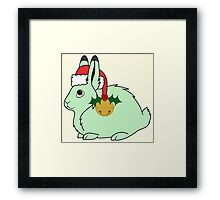 Light Green Arctic Hare with Santa Hat, Holly & Gold Bell Framed Print