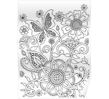 Butterflies and Flowers (I)  Poster