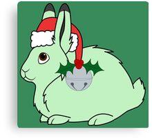 Light Green Arctic Hare with Santa Hat, Holly & Silver Bell Canvas Print