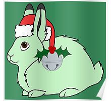 Light Green Arctic Hare with Santa Hat, Holly & Silver Bell Poster