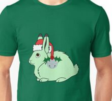 Light Green Arctic Hare with Santa Hat, Holly & Silver Bell Unisex T-Shirt