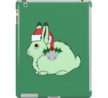 Light Green Arctic Hare with Santa Hat, Holly & Silver Bell iPad Case/Skin