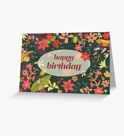 Floral Happy Birthday Print Greeting Card