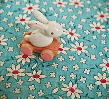 Bunny on Blue by Cassia Beck