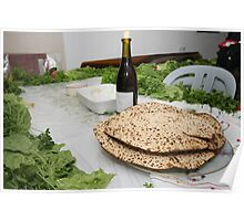 Table set for the Pesach (Passover) traditional Seder feast Poster