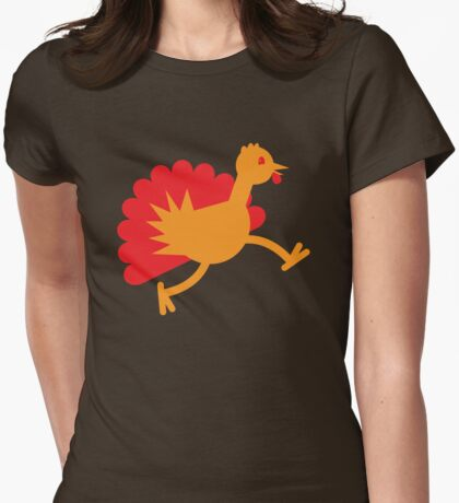 Thanksgiving Turkey on the RUN! Womens Fitted T-Shirt