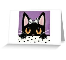 Polka Dot Kitty Greeting Card