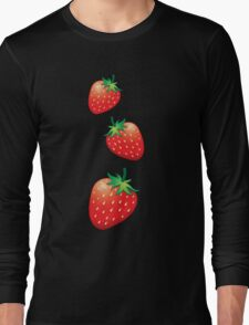 3 Strawberries fruit down Long Sleeve T-Shirt