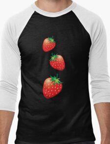 3 Strawberries fruit down Men's Baseball ¾ T-Shirt