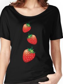 3 Strawberries fruit down Women's Relaxed Fit T-Shirt