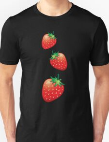 3 Strawberries fruit down Unisex T-Shirt