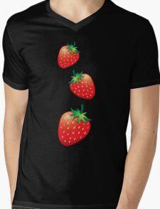 3 Strawberries fruit down Mens V-Neck T-Shirt