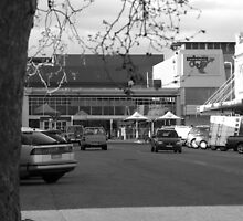 black and white photo of a street in albury by Bec89