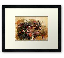Manstodon versus the Swamp Tyrant Framed Print
