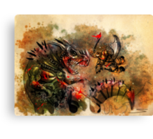 Manstodon versus the Swamp Tyrant Canvas Print