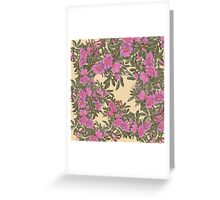 Vintage elegant pink brown yellow floral pattern  Greeting Card
