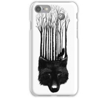 BLACK WOLF BARCODE in the woods illustration iPhone Case/Skin