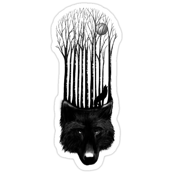 BLACK WOLF BARCODE in the woods illustration by SFDesignstudio