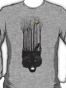 BLACK WOLF BARCODE in the woods illustration T-Shirt
