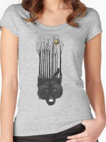BLACK WOLF BARCODE in the woods illustration Women's Fitted Scoop T-Shirt