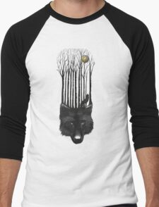 BLACK WOLF BARCODE in the woods illustration Men's Baseball ¾ T-Shirt