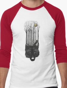 BLACK WOLF BARCODE in the woods illustration Men's Baseball ¾ T-Shirt