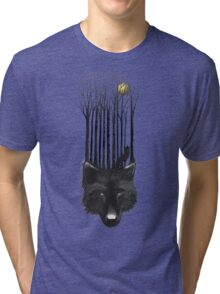 BLACK WOLF BARCODE in the woods illustration Tri-blend T-Shirt
